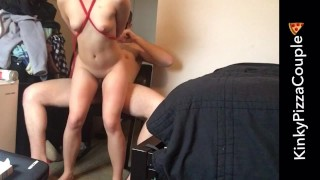 Choked tied out with fucked multiple orgasms and rough bondage fucked