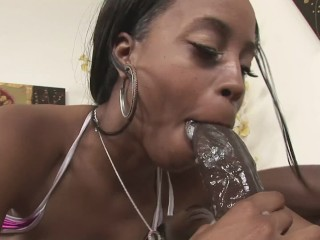 Little Black Slut Gives A Great Blowjob To Bbc
