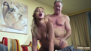 Old Man Dominated by sexy hot babe in old young femdom hardcore fucking