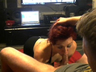 Deepthroating slutwife gets treated like a dog !