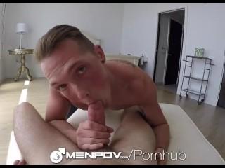 MenPOV Two guys fuck after badminton park fun