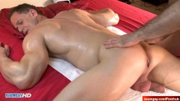 Stefen, handsome innocent gym coach serviced in a gay porn.