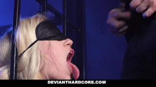 DeviantHardCore - Blonde Slut Caged Up & Dominated Bbc tlbc