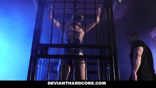 DeviantHardCore - Blonde Slut Caged Up & Dominated Bent deepthroating