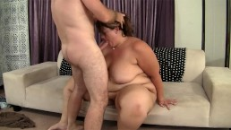 Brunette BBW with fat ass ride big white dick