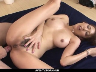 Akari Asagiri amazing milf sex with two makes - More at 69avs.com