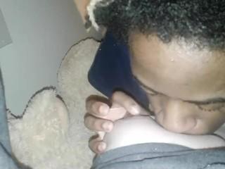 Black boy eats white girls pussy