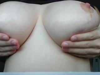 Oiling Up My GF's Big Tits