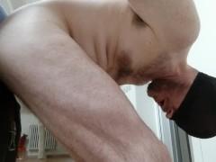 Straight guy fucked by huge cock, phantasm - practising and sucking dildo