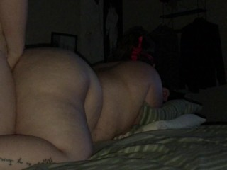 Masked BBW in lingerie gets multiple orgasms thanks to her masked daddy