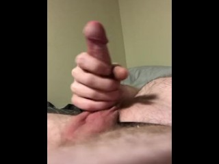 Pretty white cock jerks off with big cumshot