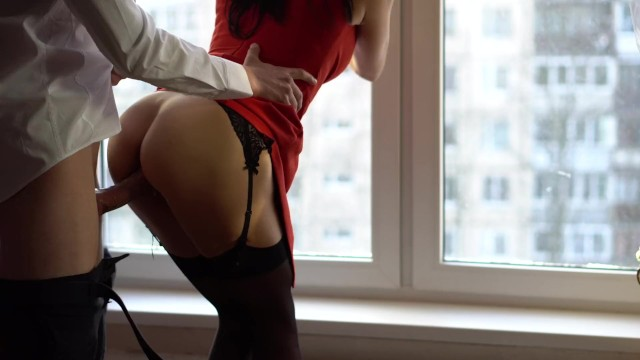 Wife In Red Dress And Stockings Cheating With Best Friend -9434