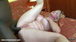Granny gets ass fucked with dildo and big black cock and cum on big tits
