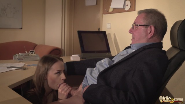 Office sex boss secretary desk gallery - Secretary caught coworker sucking the old boss under his desk and joins in