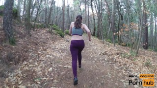 Jogging and Tittyfucking in the Forest ! Fucking bj