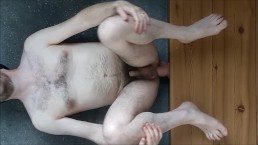 Painful ass fuck moaning straight guy on floor by (almost) too big dildo