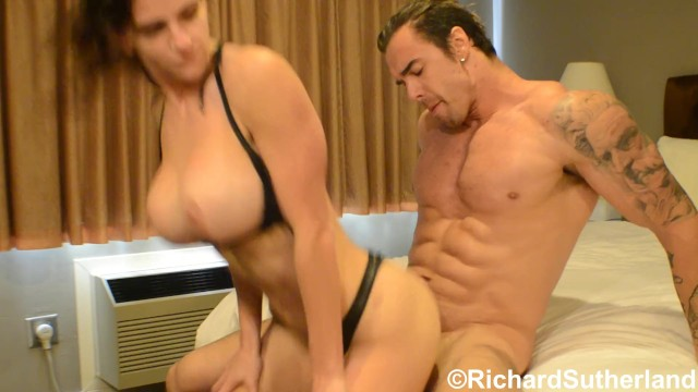 Razor and bikini trimmer Bikini competitor fucked by muscle stud
