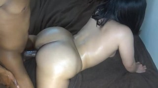Bubble butt chick bounces wet pussy on huge cock & gets cumshot on ass!