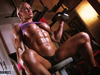 Ripped Female Bodybuilder Topless Workout
