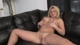 CHUBBY BLONDE TEEN STRIPS AND PLAYS WITH HER PUSSY