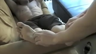 Foot fetish stud with a great body tickled by his friend porno