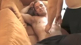 Foot fetish stud with a great body tickled by his friend