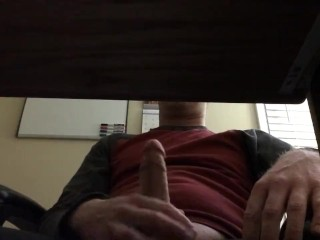 White guy strokes and has massive orgasm under the desk
