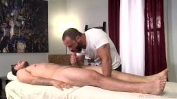 Injured Jock Dicks Hot Daddy Masseur On Massage Table