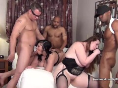 Eight way interracial chubby and mature fucking and deepthroating