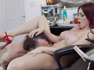 busty redhead babe gets fucked hard on the floor