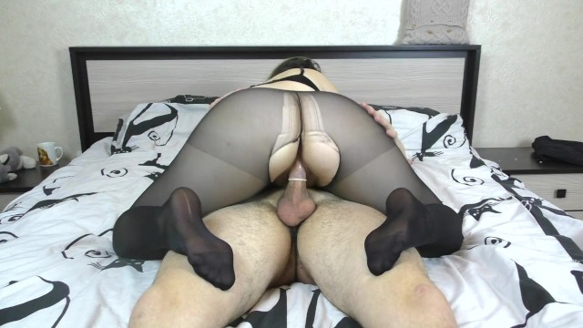 Teen Big Ass Pussyjob in Nylon Pantyhose Cum Inside Amateur Sex