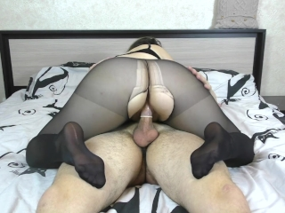 Teen Big Ass Pussyjob in Nylon Pantyhose Cum Inside Amateur Sex