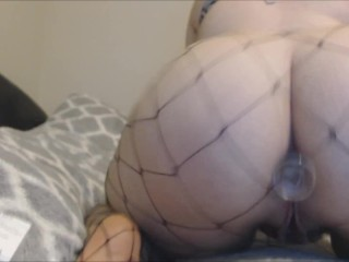 Phat White Teen Twerking Thick Ass In Fishnet Stockings With Anal Plug