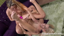 Lesbian Anal - Blonde toy their tight asses after rimming each other