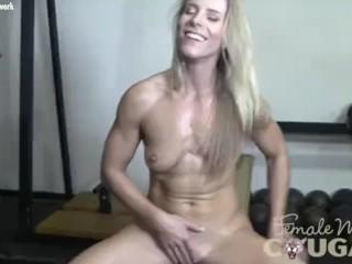 Naked female bodybuilder cougar Claire in schoolgirl plaid panties