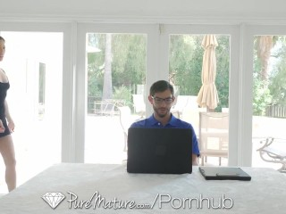 PureMature Asian petite MILF Kalina Ryu fucks computer technician