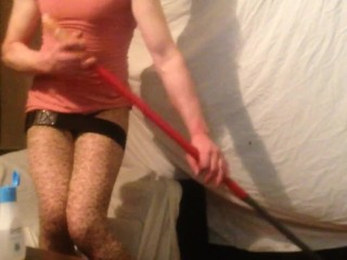 Swed crossdresser cleaning Livingroom is needed Vol:1