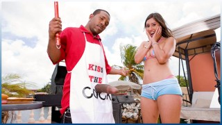 BANGBROS Grill Master Shorty Mac Serves Alexis Breeze Some Meat
