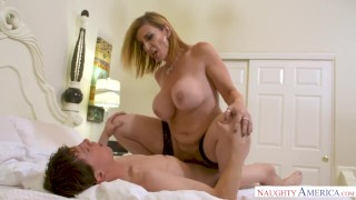 MILF Sara Jay punishes her son's friend with her pussy! Son jav