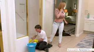 MILF Sara Jay punishes her son's friend with her pussy! 69 reverse