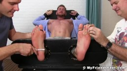 Hot dude Aceera gets his suckable feet tickled by older guys