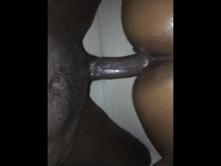 Oiled Up Ebony Rides and Cums on Black Dick