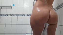 soapy shower ass and tits wash part 2
