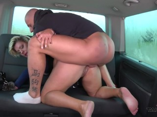 Busty fat nymphomaniac show the real rodeo in driving van