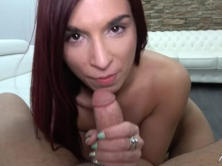 Redhead love to eat the cum from just cumming cock