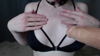 rubia in glasses POV blowjob cumming dildo facial and cum in mouth View nerd