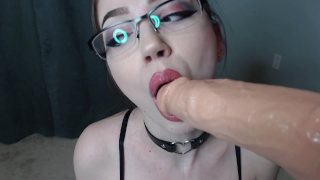 rubia in glasses POV blowjob cumming dildo facial and cum in mouth Bathroom shaved