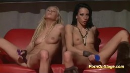 hot lesbian dildo show on stage