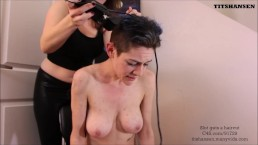 Slut gets Head Shaved Bowlsnboobs