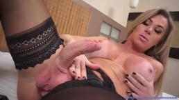 Fit Body Big Tit TS Slut Nikolly Gaucha Has Variety Of Ways She Jerks Off